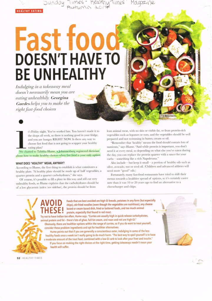 Newspaper articles Sunday Times Magazine - Fast Food doesn't have to be unhealthy